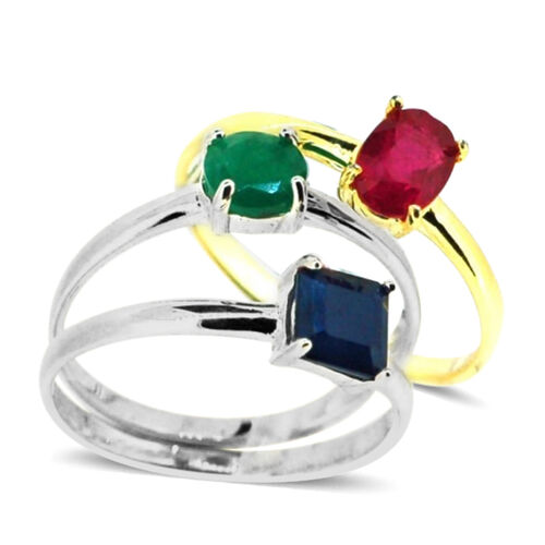 Set of 3 - African Ruby, Blue Sapphire, Emerald Sakota Stacking Solitaire Ring in 14K Gold Overlay and Sterling Silver 3.500 Ct.