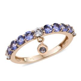 9K Yellow Gold 1 Carat Tanzanite Round, White Sapphire Charm Ring.
