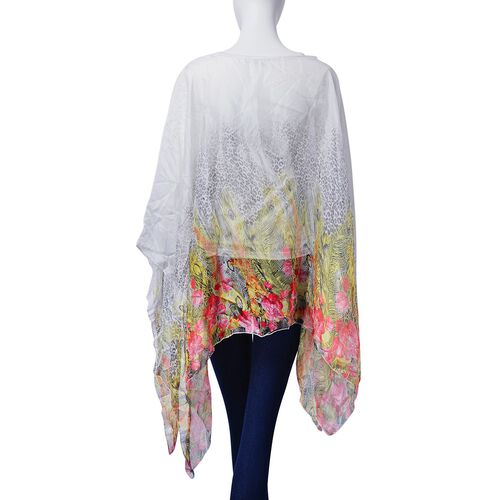 Multi Colour Leopard, Floral and Feather Pattern White Colour Poncho (Size 135x70 Cm)