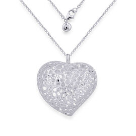 RACHEL GALLEY Sterling Silver Amore Heart Necklace (Size 30), Silver wt 28.68 Gms.