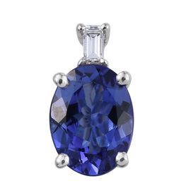 ILIANA 18K White Gold AAA Tanzanite Oval, Diamond (SI G-H) Pendant 1.30 Ct.