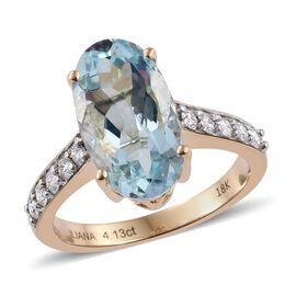 ILIANA 18K Yellow Gold 4.50Carat AAA Santa Maria Aquamarine Ring With Diamond SI G-H