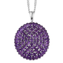 AA Lusaka Amethyst (Ovl) Cluster Pendant With Chain in Platinum Overlay Sterling Silver 17.000 Ct.