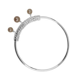 RACHEL GALLEY Japanese Akoya Pearl (Rnd 3.35 Ct) Bangle (Size 8)  in Sterling Silver 7.742 Ct.