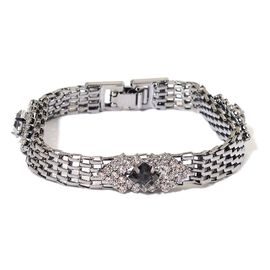 AAA White Austrian Crystal and Simulated Grey Moon Stone Retro Style Bracelet (Size 7.5) in Black Tone