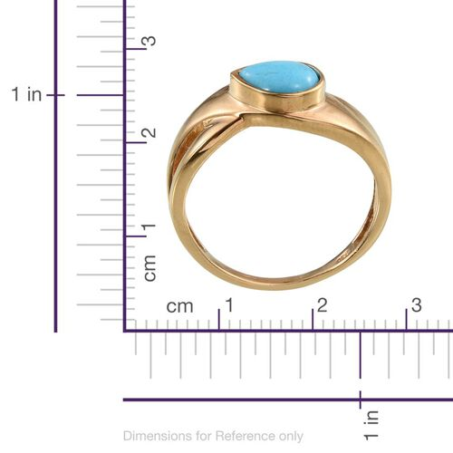 Arizona Sleeping Beauty Turquoise (Pear) Solitaire Ring in 14K Gold Overlay Sterling Silver 1.250 Ct.