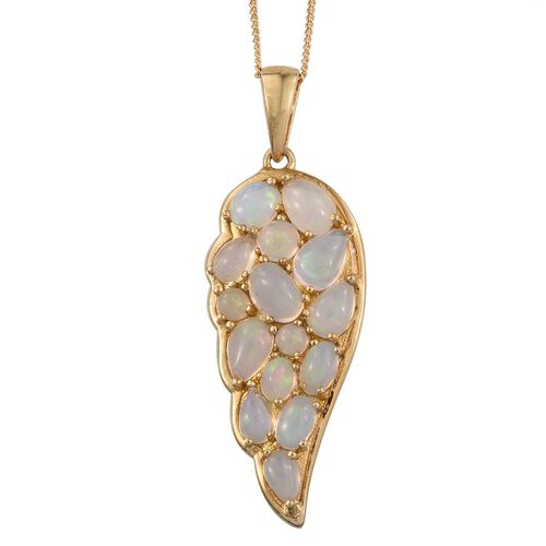 Ethiopian Welo Opal (Ovl) Wing Pendant With Chain in 14K Gold Overlay Sterling Silver 2.500 Ct.