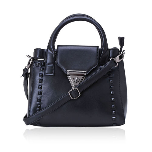 Black Colour Tote Bag with External Zipper Pocket and Adjustable and Removable Shoulder Strap (Size 25x15x10 Cm)