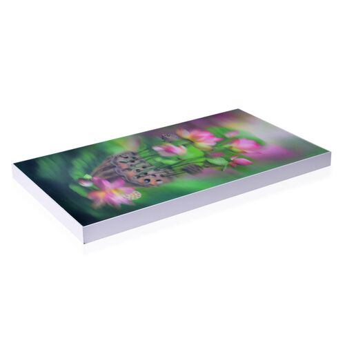 Wall Decor - Lotus Floral Framed 5D Wall Painting (Size 48.5x26.5x3 Cm)