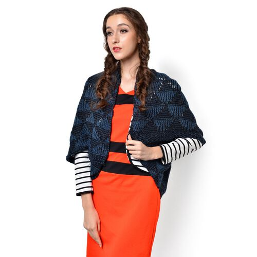 Blue and Black Colour Knitted Kimono (Free Size)