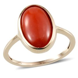 9K Y Gold Natural Mediterranean Coral (Ovl) Solitaire Ring 4.500 Ct.
