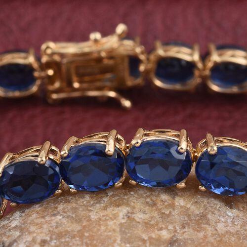 Ceylon Colour Quartz (Ovl) Tennis Bracelet (Size 7.5) in 14K Gold Overlay Sterling Silver 34.000 Ct.