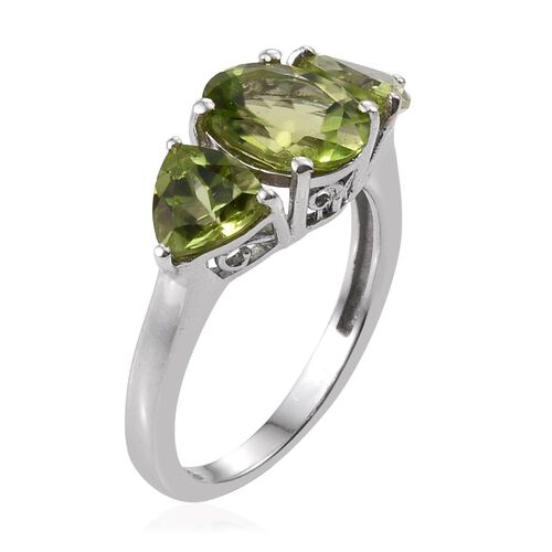 Hebei Peridot (Ovl 2.00 Ct) Ring in Platinum Overlay Sterling Silver 3.750 Ct.