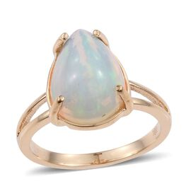 ILIANA 18K Y Gold AAA Ethiopian Welo Opal (Pear) Solitaire Ring 5.750 Ct.