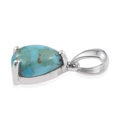 Arizona Matrix Turquoise (Pear) Solitaire Pendant in Platinum Overlay Sterling Silver 1.750 Ct.
