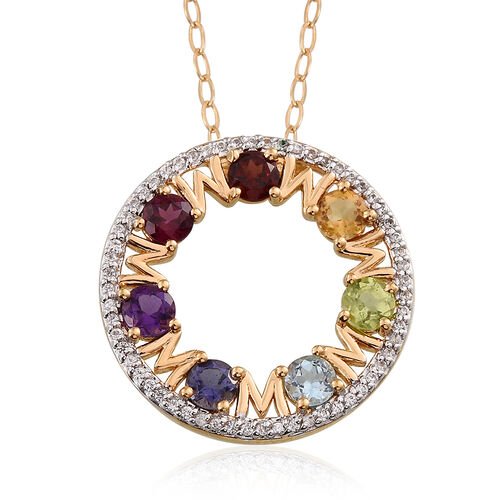 JCK Vegas Collection Hebei Peridot (Rnd), Rhodolite Garnet, Swiss Blue Topaz, Mozambique Garnet, Amethyst, Citrine and Iolite Pendant with Chain in 14K Gold Overlay Sterling Silver