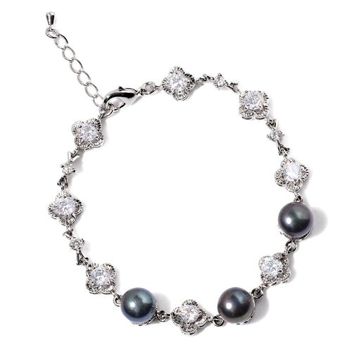 Fresh Water Peacock Pearl and Simulated White Diamond Bracelet (Size 9 with Extender) in Silver Tone 25.000 Ct.