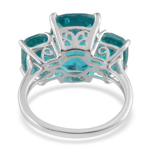 Capri Blue Quartz (Cush 7.50 Ct) 3 Stone Ring in Platinum Overlay Sterling Silver 11.250 Ct.