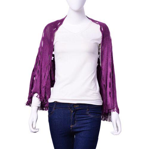 Purple Colour Poncho (Size 140x25 Cm)