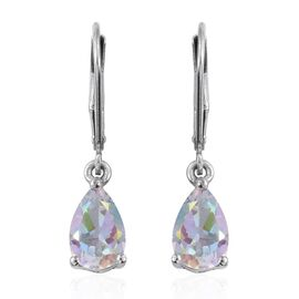 Mercury Mystic Topaz (Pear) Lever Back Earrings in Platinum Overlay Sterling Silver 2.750 Ct.