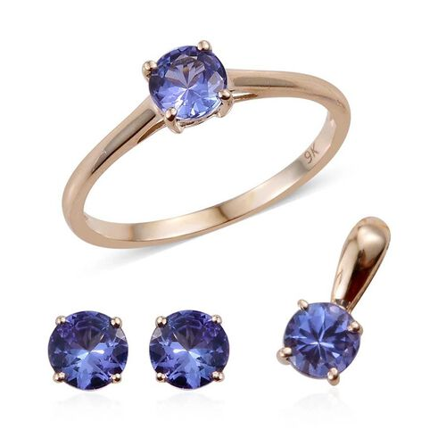 9K Yellow Gold 2 Carat Tanzanite Round Solitaire Ring, Pendant and Stud Earrings Set.