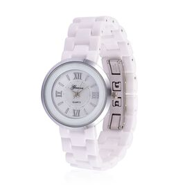 GENOA Japanese Movement White Dial Water Resistant Watch in Silver Tone with Stainless Steel Back and White Ceramic Strap