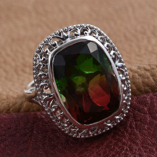 Bi-Color Tourmaline Quartz (Cush) Ring in Platinum Overlay Sterling Silver 15.000 Ct.