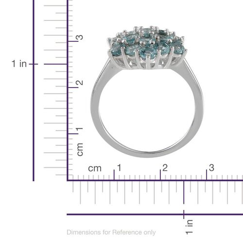 Paraibe Apatite (Rnd) Cluster Ring in Platinum Overlay Sterling Silver 2.000 Ct.