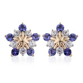 9K Y Gold Tanzanite (Rnd), Natural Cambodian Zircon Stud Earrings (with Push Back) 1.500 Ct.