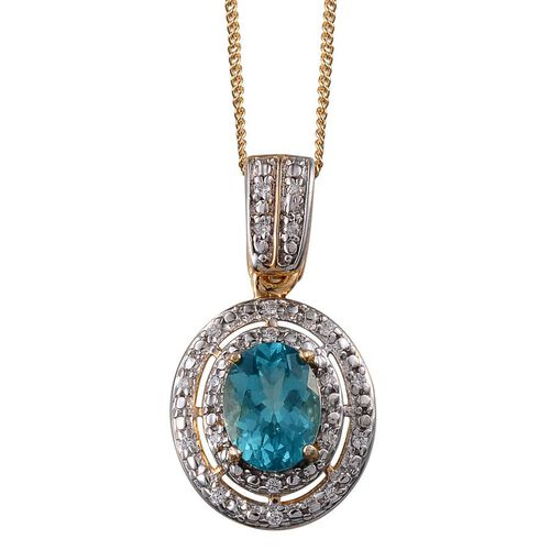AA Paraibe Apatite (Ovl 1.00 Ct), Simulated Diamond Pendant With Chain in 14K Gold Overlay Sterling Silver 1.250 Ct.
