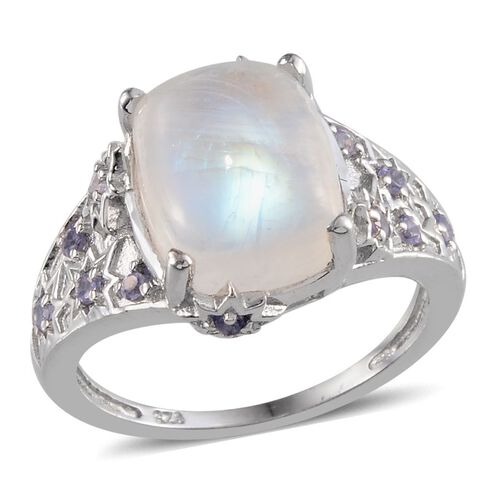 Rainbow Moonstone (Cush 6.75 Ct), Tanzanite Ring in Platinum Overlay Sterling Silver 7.150 Ct.