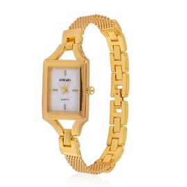 STRADA Japanese Movement Mope Dial Water Resistant Watch in Gold Tone with Stainless Steel Back