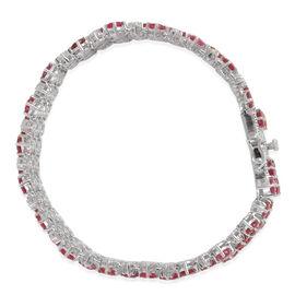 African Ruby (Rnd), White Topaz Bracelet in Platinum Overlay Sterling Silver 32.500 Ct.