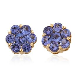 9K Y Gold Tanzanite (Rnd) Floral Stud Earrings (with Push Back) 1.750 Ct.