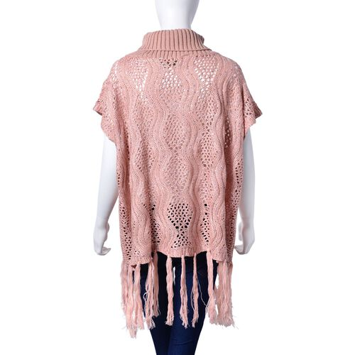 Pink Colour Wavy Pattern High Neck Design Knitted Vest with Tassels (Size 70x60 Cm)