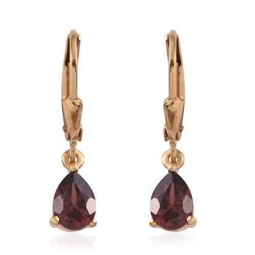 AA Umba River Zircon (Pear) Lever Back Earrings in 14K Gold Overlay Sterling Silver 2.000 Ct.