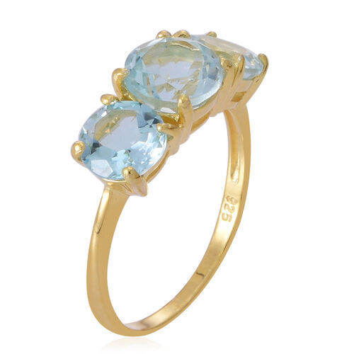 AAA Sky Blue Topaz (Rnd 2.30 Ct) 3 Stone Ring in Yellow Gold Overlay Sterling Silver 5.000 Ct.