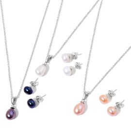 Fresh water Peach, White and Peacock Pearl 3 Set Pendant with Chain and Stud Earrings (with Push Back) in Silver Tone