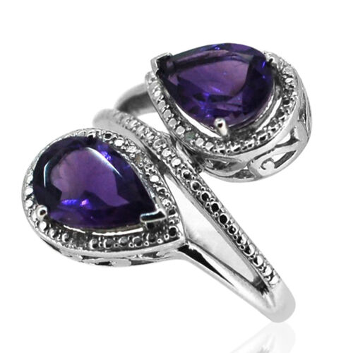 Amethyst (Pear), Diamond Ring in Rhodium Plated Sterling Silver 3.520 Ct.
