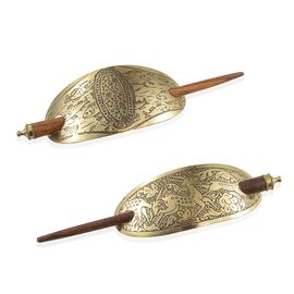 Set of 2 - Jewels of India Fish and Deer Engraved Hair Clips