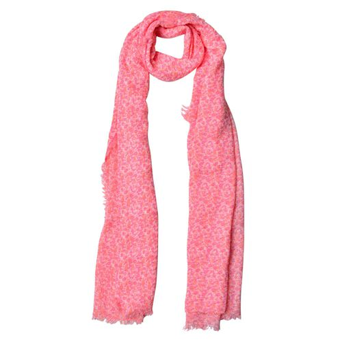 Small Floral Pattern Orange and Pink Colour Scarf (Size 180x90 Cm)