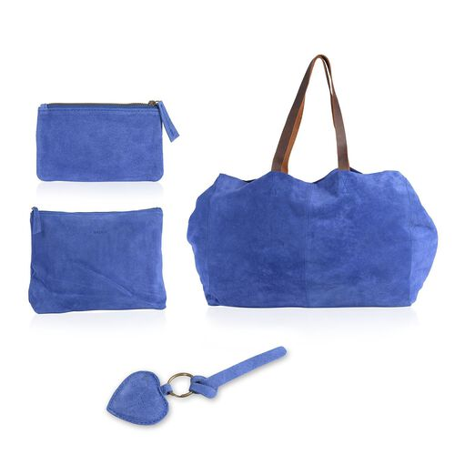 Genuine Leather Blue Colour Handbag (Size 50X34X24.5 Cm) with 2 Pouches (Size 28X20X7 and 16X10 Cm) and Heart Key Chain