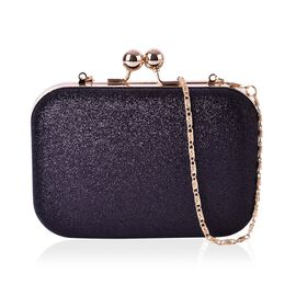 Party Glamour Dazzling Black Glitter Clutch with Gold Chain Strap (Size 15x10x4 Cm)