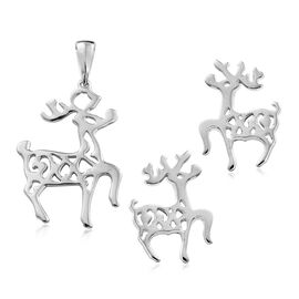 Reindeer Silver Earrings and Pendant Set in Gold and Platinum Overlay, 5.45 Gms.
