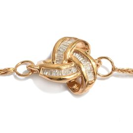 Diamond (Bgt) Adjustable Knot Bracelet (Size 6.5 To 8.5) in 14K Gold Overlay Sterling Silver 0.150 Ct.
