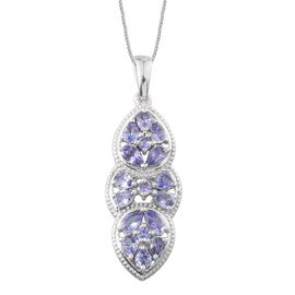 Tanzanite (Pear) Pendant With Chain in Platinum Overlay Sterling Silver 3.000 Ct.