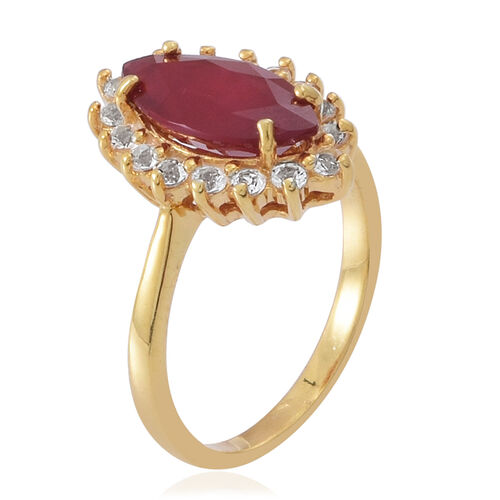 African Ruby (Mrq 3.65 Ct), White Topaz Ring in 14K Gold Overlay Sterling Silver 4.500 Ct.