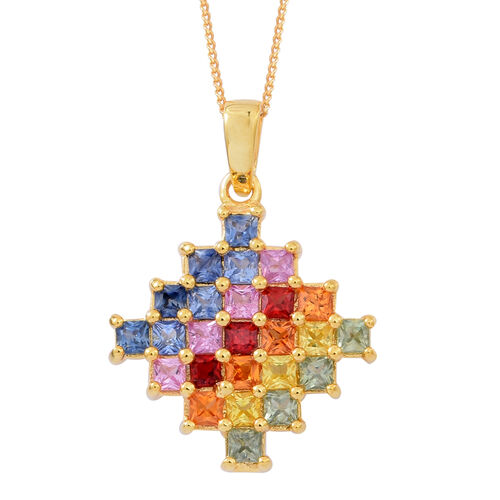 AAA Rainbow Sapphire (Princess) Pendant with Chain in 14K Gold Overlay Sterling Silver 3.250 Ct.