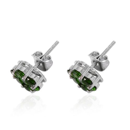 Russian Diopside (Rnd) Floral Stud Earrings (with Push Back) in Platinum Overlay Sterling Silver 2.250 Ct.