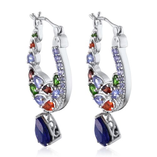(Option 1) Stefy Lapis Lazuli (Pear), Tanzanite, Mozambique Garnet, Russian Diopside Jalisco Fire Opal, Pink Sapphire and White Topaz Hoop Earrings in Platinum Overlay Sterling Silver 7.750 Ct.